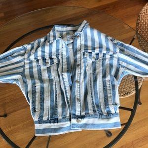 Blue and white striped jean denim jacket